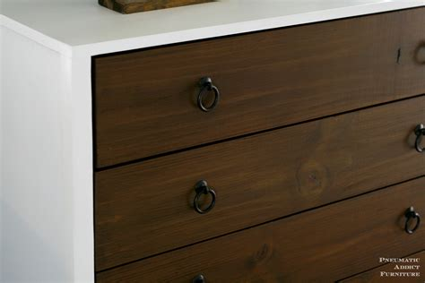 white modern white dresser with wood drawers diy