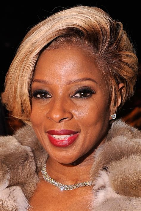 bob styles for black women over 50 mary j blige short side part mary j blige short