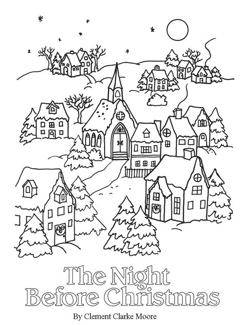christmas village coloring pages