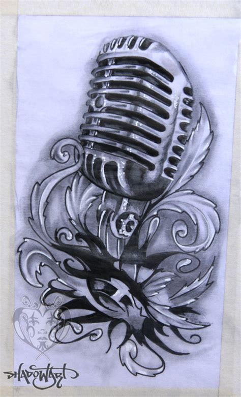 microphone tattoo stencil shadowart tattoo sketch tattoo pinterest sketches