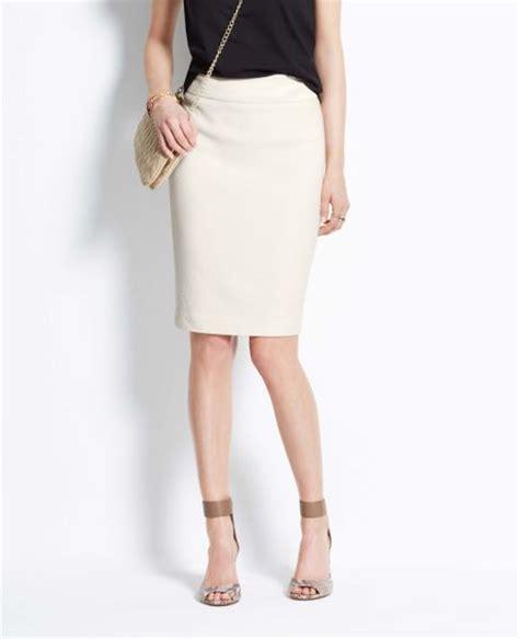 textured pencil skirt in white winter white