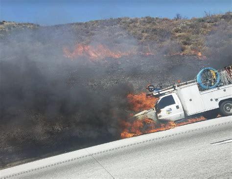 cajon pass fire breaking truck fire in cajon pass spreads to vegetation