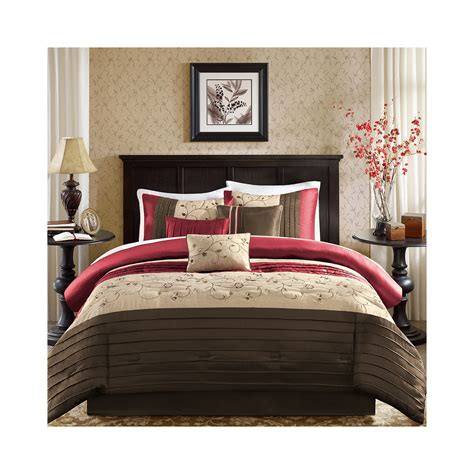 madison park maddox 7 pc comforter set cal king red
