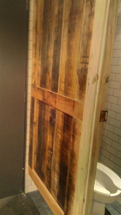 wood bathroom stalls reclaimed wood custom made into bathroom stall door cafe designs pinterest doors