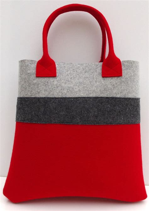 S Bag Handmade handmade bag felt tote and gray shopper shopping