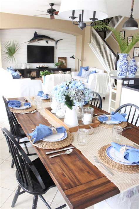 blue and white kitchen table starfish cottage