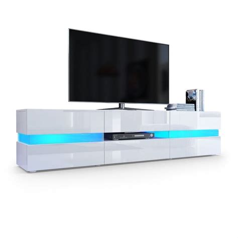 tv unit cabinet flow in white matt white high gloss with