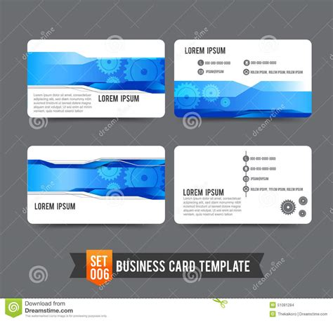 how to set up a business card template in photoshop business card template set 006 gear technology concept
