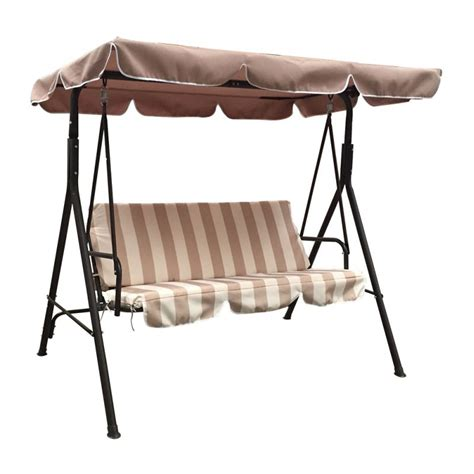 porch swing chair australia jhoola 3 seat outdoor swing chair in brown w stripe buy