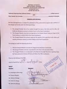 here is the expulsion letter from uhuru s tna to the only