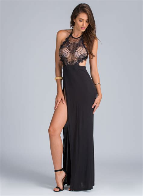 get on top lace get on top of it halter maxi on the hunt