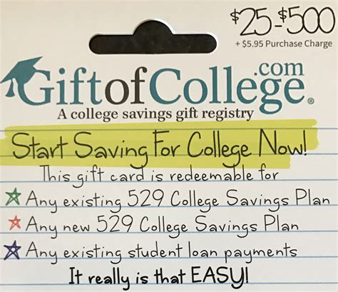 Gift Of College Gift Cards - pay student loans or 529 plans with a credit card