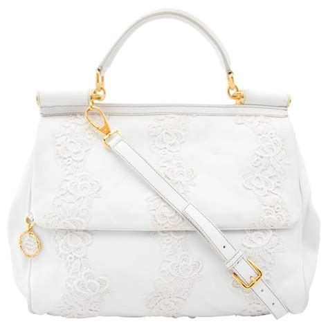 Dolce And Gabbana White Open Leather Bag by Dolce And Gabbana White Leather And Lace Sicily Bag For