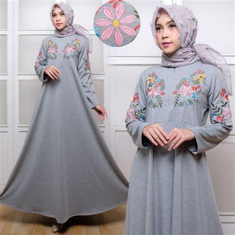 Baju Busana Muslim Gamis Alina Abu Navy Maxi Bergo Diskon baju maxi terusan babyterry bordir gamis remaja murah