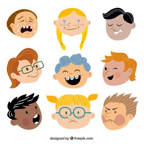 caritas de ninos animados caras de ni 241 os descargar vectores gratis
