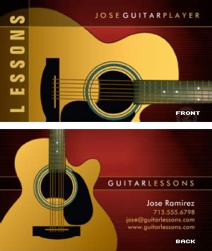 Guitar Business Card Template Free by Guitar Lessons Business Card 171 Vizons Design