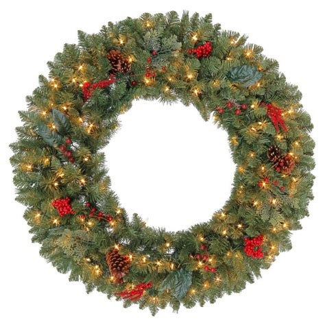 outdoor wreath with lights martha stewart living 36 in winslow artificial wreath