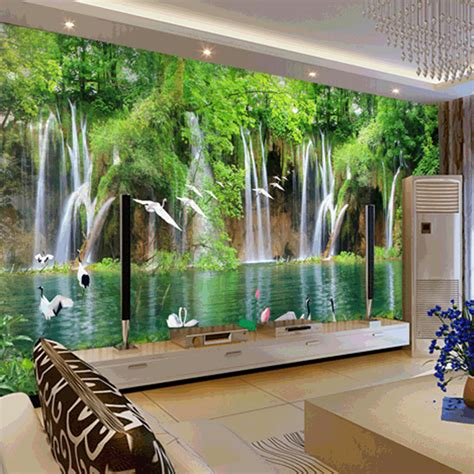 Bedroom Waterfall by Custom Mural Wallpaper Tv Bedroom Wall Small
