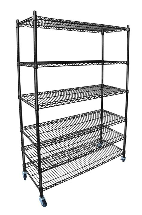 Commercial Shelf by Black Chrome Commercial 6 Tier Shelf Adjustable Steel Wire