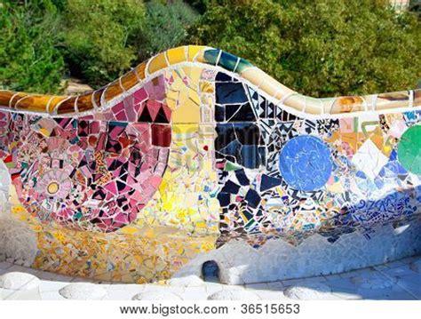 park guell bench barcelona park guell of gaudi tiles mosaic serpentine bench modernism poster id 36515653