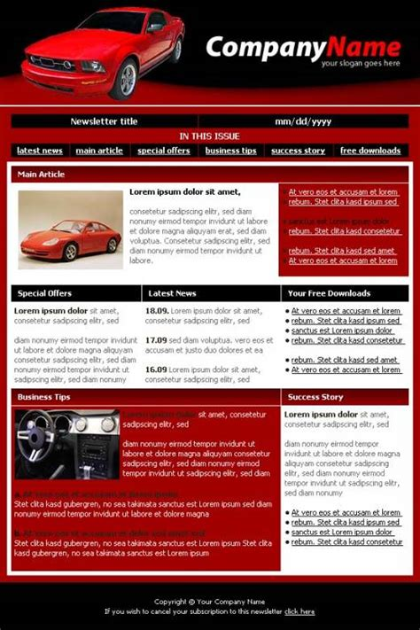 professional newsletter templates professional car dealer newsletter template templatesbox