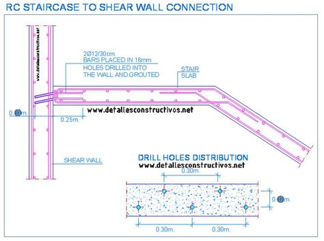 shear wall section rc staircase to shear wall connection