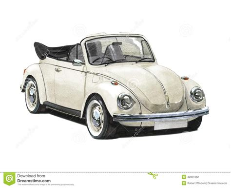 volkswagen bug drawing vw beetle convertible 1970s editorial photography image