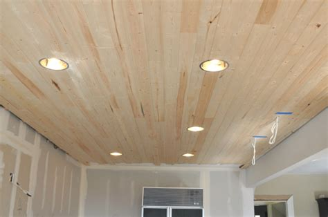wood planking for ceilings diy how to install a wood planked ceiling house updated
