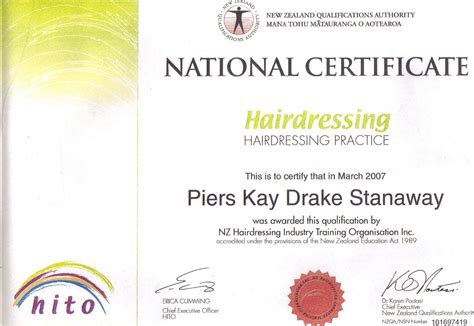 hair design certificate piers stanaway hair design education and training