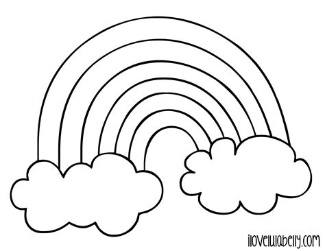 coloring page rainbow clouds