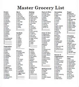 Grocery List Template Pdf Sample Grocery List Template 9 Free Documents In Word