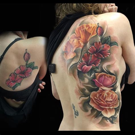 back tattoo roses beautiful back flowers best ideas gallery