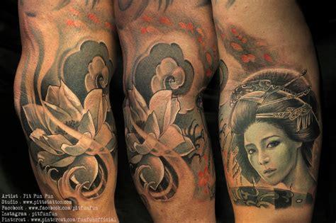 geisha lotus tattoo pit fun fun certified artist
