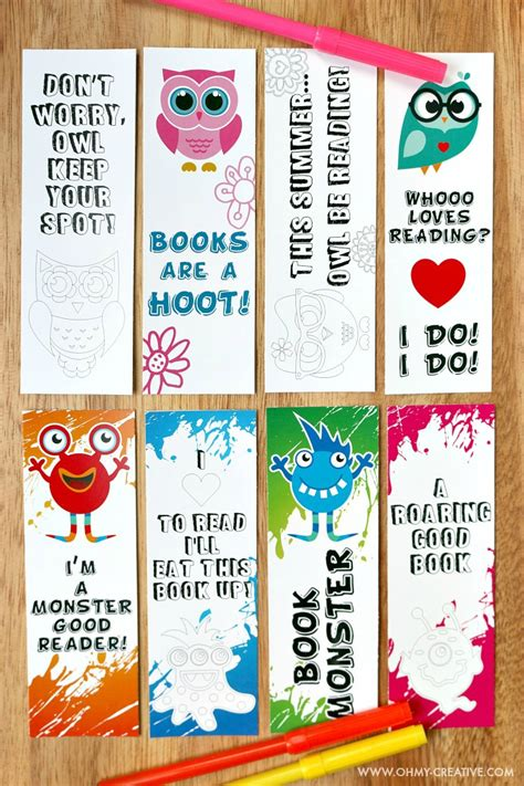 printable bookmarks for books free printable bookmark coloring pages for kids oh my creative