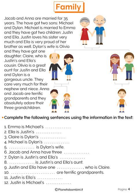 testi in inglese per scuole medie i membri della famiglia in inglese esercizi per la scuola