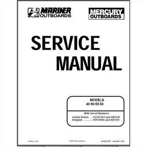 free online auto service manuals 2009 mercury mariner interior lighting mercury mariner 40 50 55 60hp 2 stroke oem service shop repair manual on cd ebay