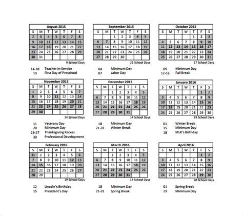 9 Sle Preschool Calendar Templates To Download Sle Templates Preschool Calendar Template