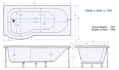 Bathroom Dimensions With Shower 1500mm 8 Jet Liberty Max Whirlpool P Shape Shower Bath Ebay