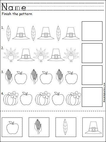 pattern matching generator thanksgiving pattern worksheet holiday pinterest