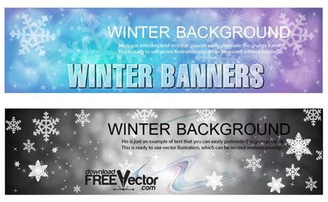 Winter Banners Templates Free Vector Art Winter Banner Templates
