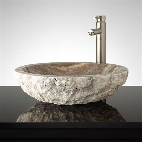 Curved Oval Polished Travertine Vessel Sink Bathroom Vessel Kitchen Sink