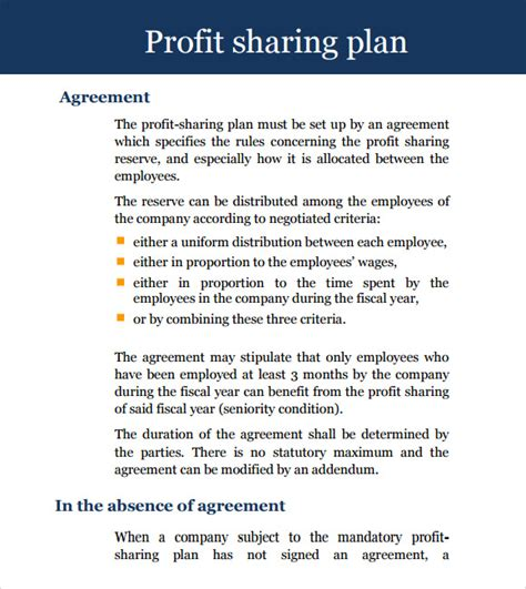 sle profit sharing agreement 11 exles format