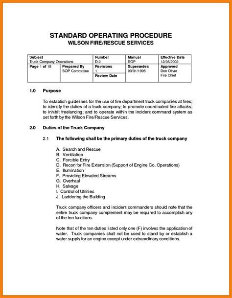 11 12 Standard Operating Procedure Template Free Covermemo Standard Operating Procedure Template Free