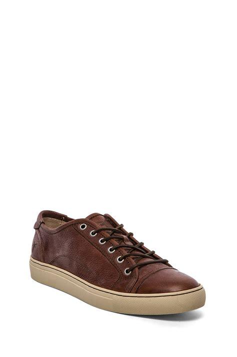 frye sneakers sale frye justin low lace sneaker in brown for cognac lyst