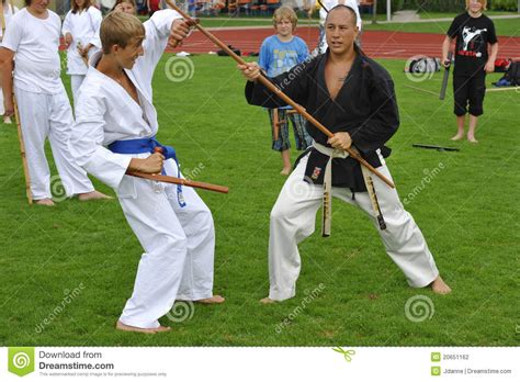 Karate The Masster Of Attack And Defence martial master benj with bo and tonfa editorial