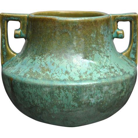 Fulper Vase by Fulper Pottery Vase 452 Green Crystalline Glaze Circa