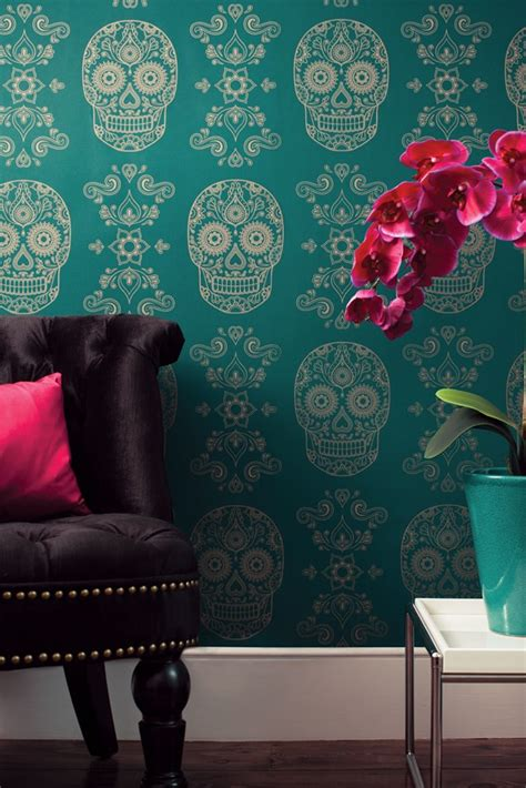 day of the dead bedroom ideas day of the dead wallpaper emerald gold