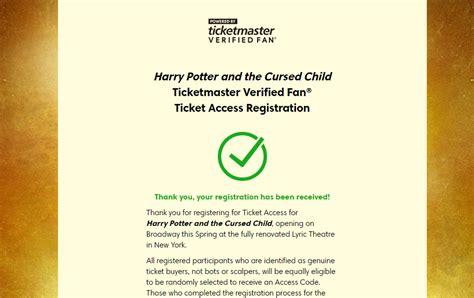 ticketmaster verified fan harry potter verified fan registration open for cursed child