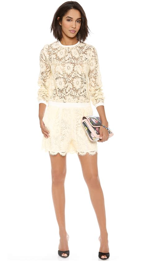 www short lyst msgm lace short jumpsuit in natural