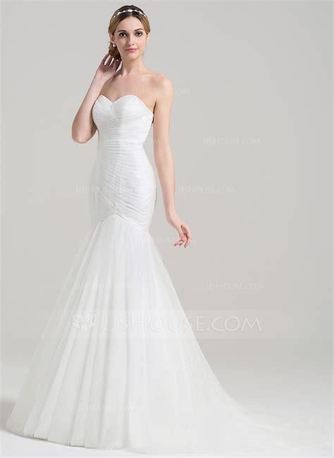 trumpet mermaid sweetheart court train tulle wedding dress